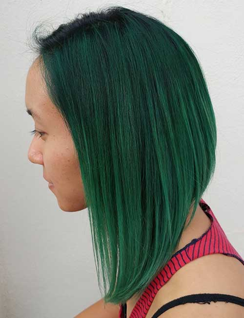 25. Emerald A-Line Lob With A Subtle Stack