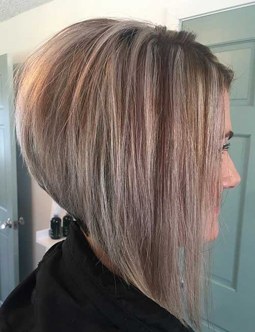 22. Ash Blonde Stacked Lob With A Dramatic Angle