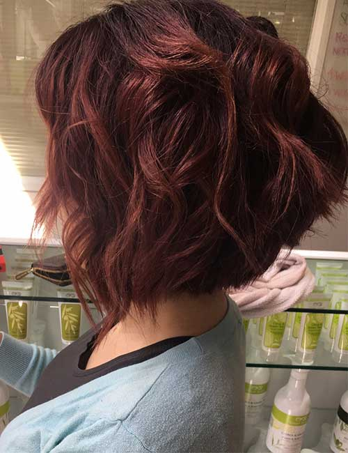 24. Violet Red Wavy A-Line Stacked Bob
