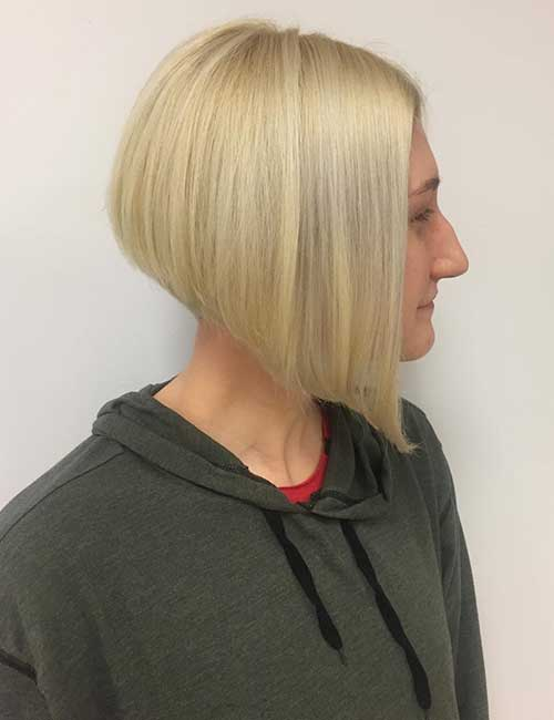 26. Baby Blonde Stacked Bob