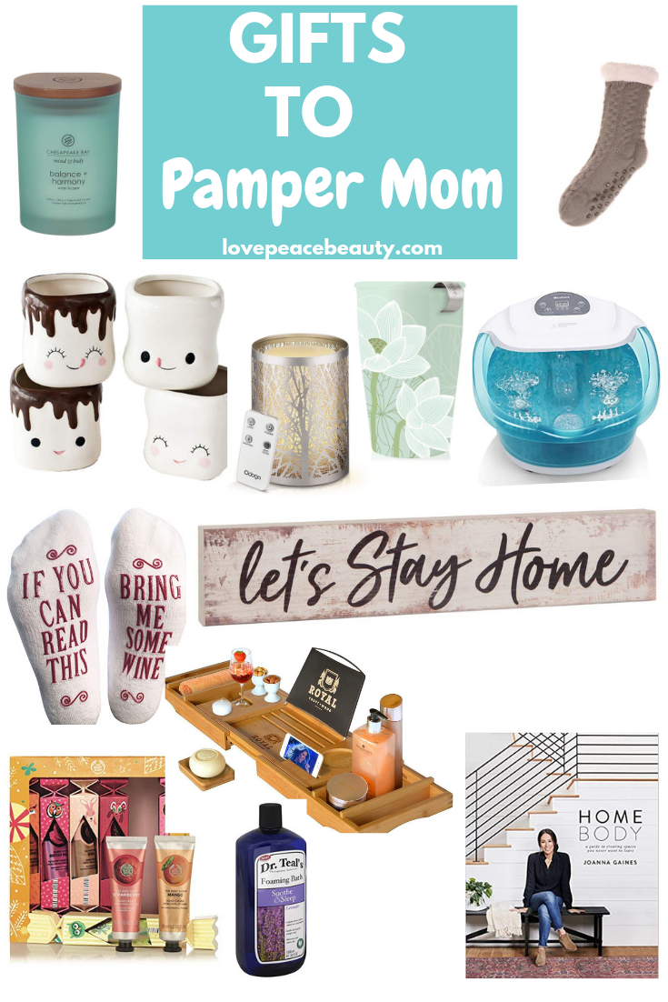 Collage image of gifts to pamper mom optimized for Pinterest