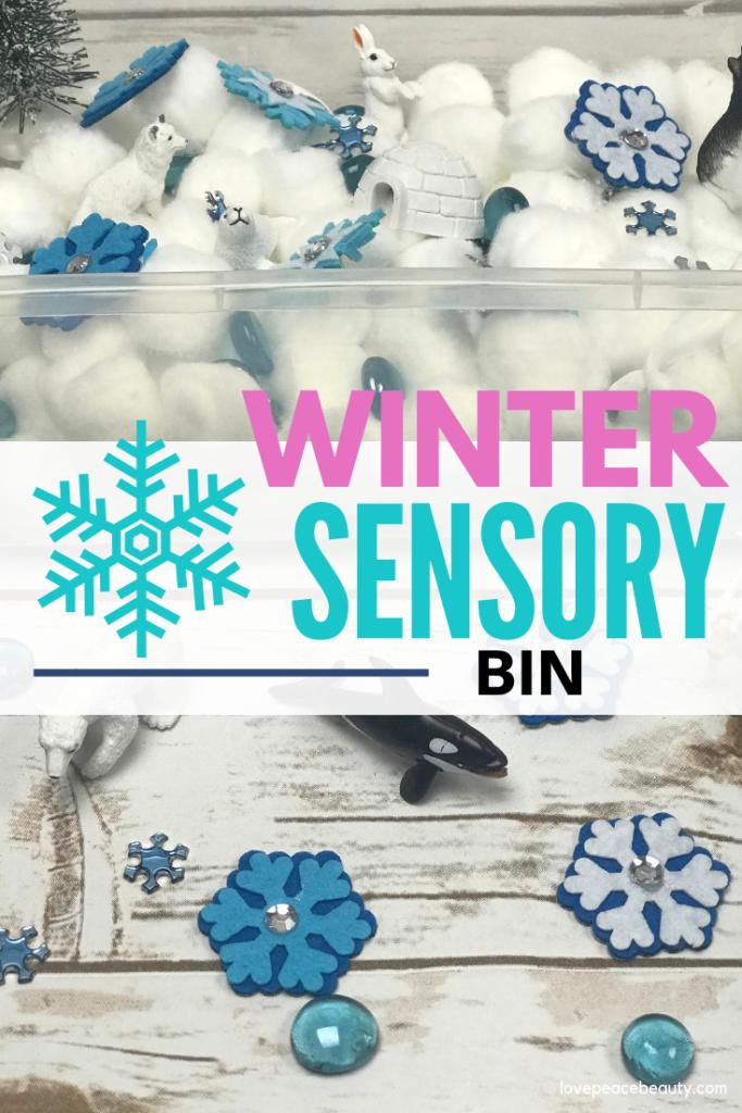 Winter Sensory bin collage image