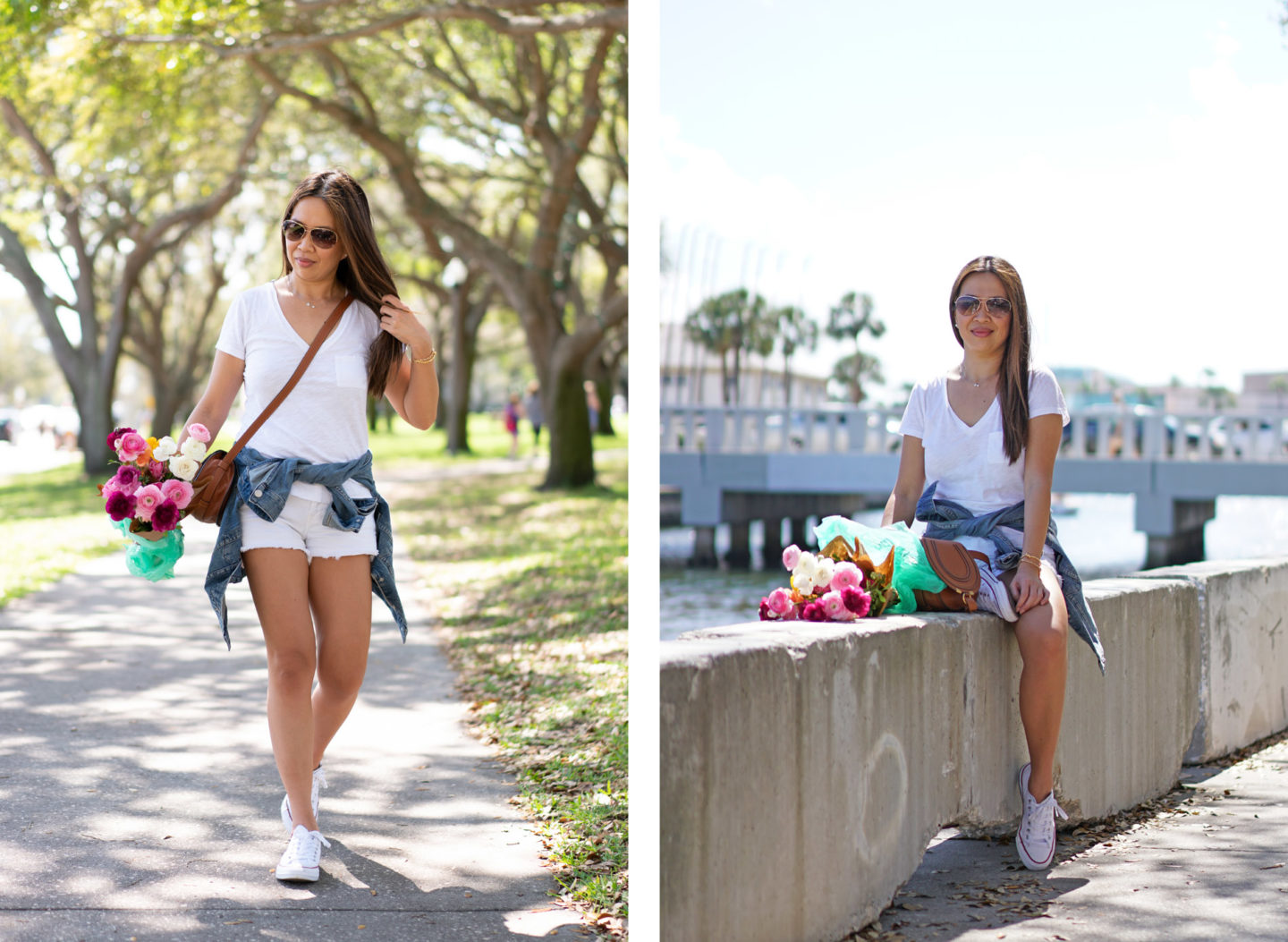 Madewell Denim Jacket, Chloe Mini Marcie, White Denim Shorts