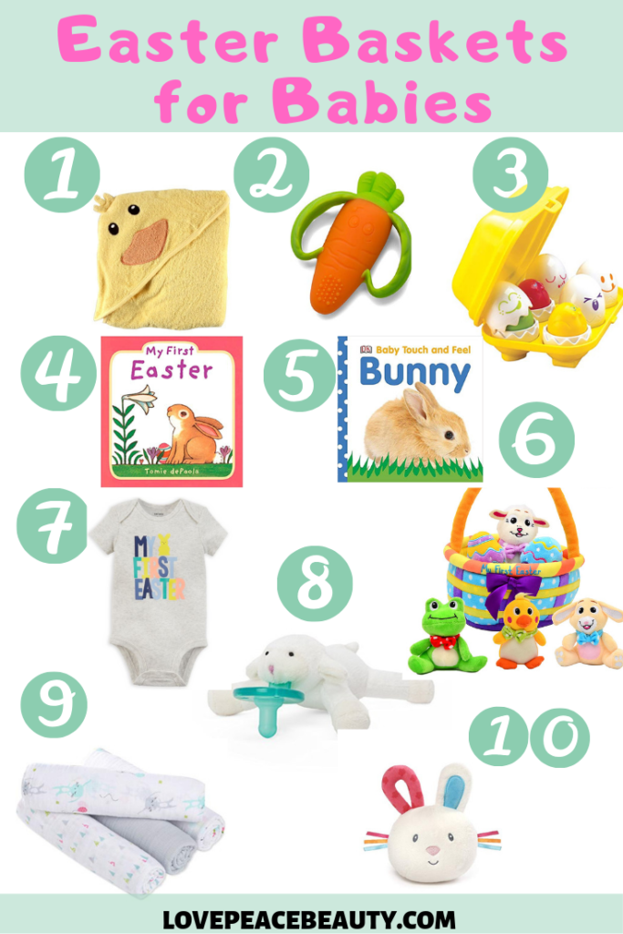 collage of baby items to put in an Easter basket for baby