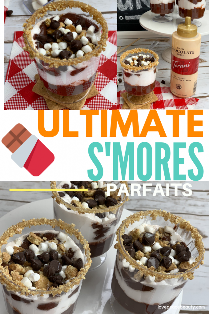 collage image optimized for Pinterest showing the s'mores recipe parfaits