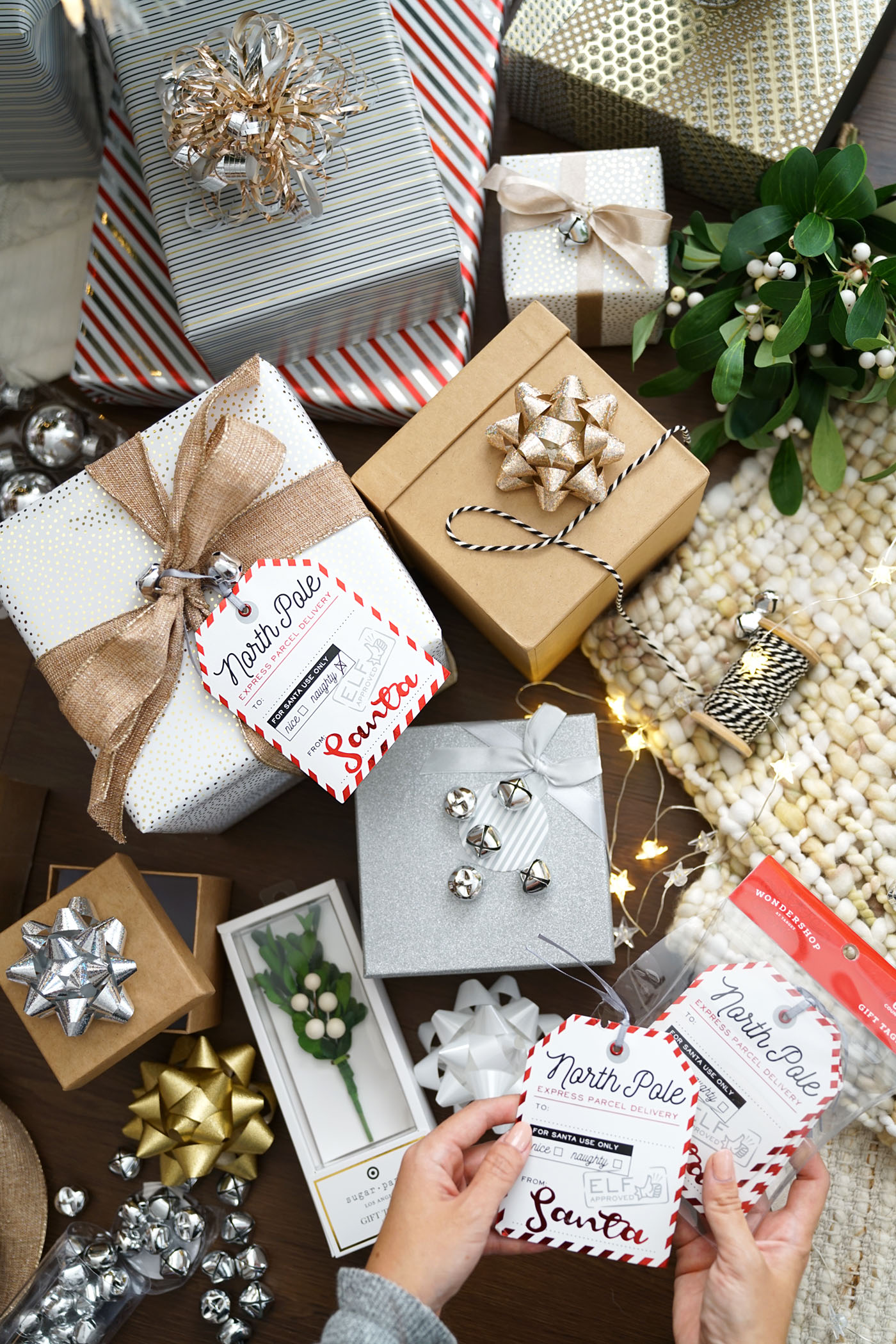 Christmas Boxes and Tags from Target and Michaels