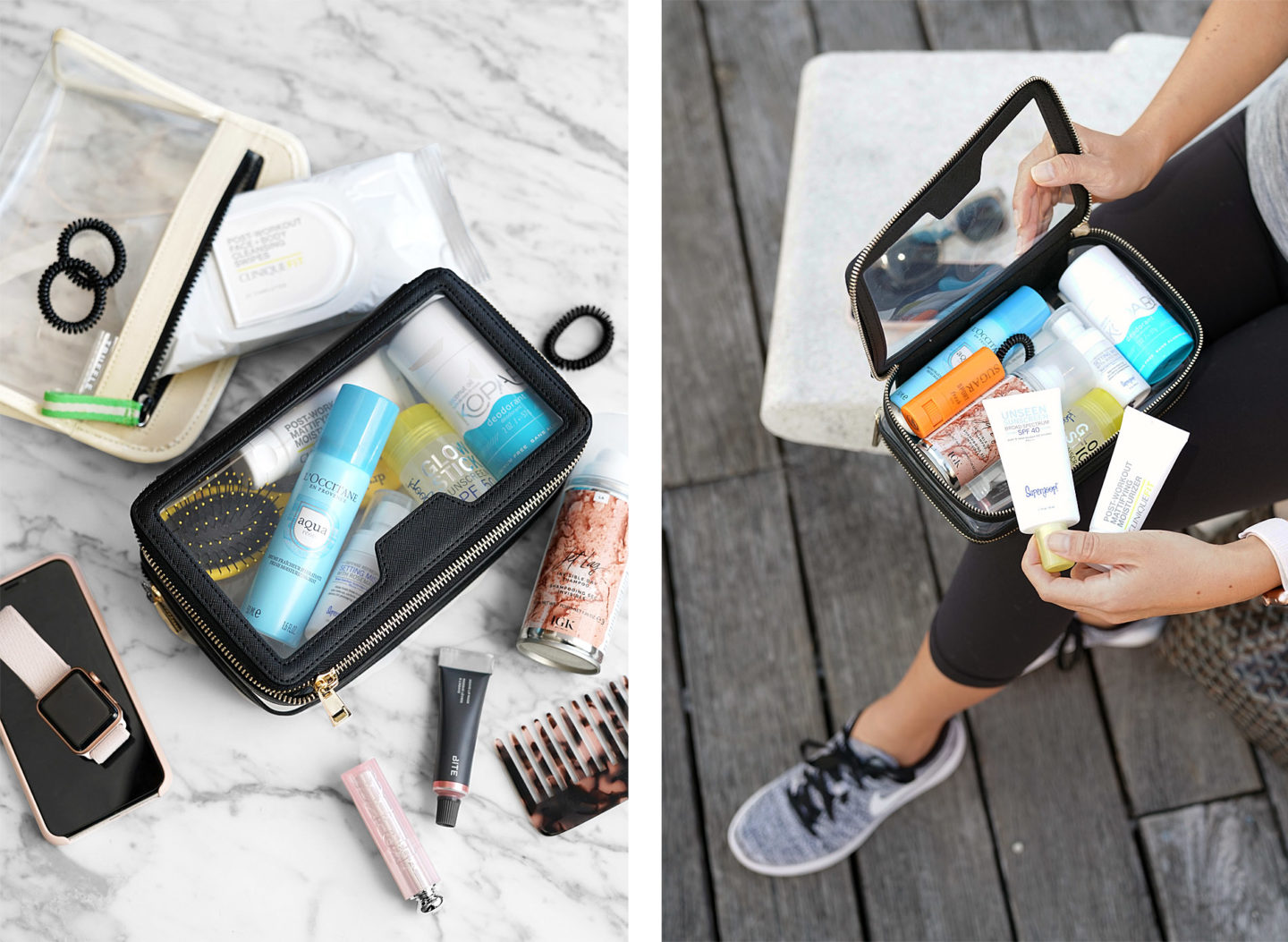 Gym Beauty Essentials in The Daily Edited Transparent Cosmetic Case