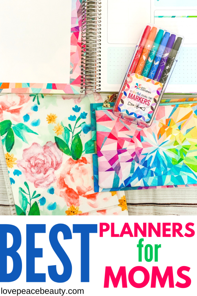 Image Optimized for Pinterest Titled Best Planners for Moms 2020 with an Erin Condren planner and Erin Condren markers above the title.